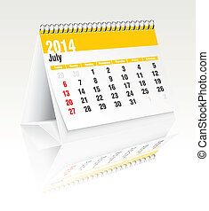 july 2014 desk calendar - 2014 desk calendar - vector...