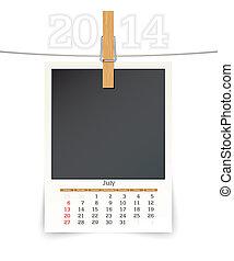 july 2014 photo frame calendar