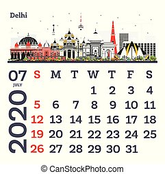 July 2020 Calendar Template with Delhi City Skyline.