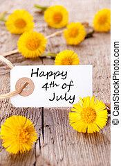 july 4, címke, boldog