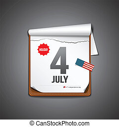 july 4 calendar, independence day american paper design....
