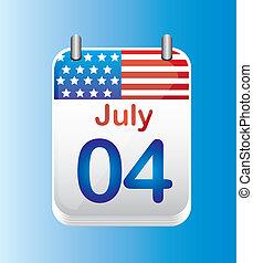 july 4 calendar, independence day. vector illustration