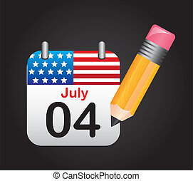 july 4 calendar with pencil over black background. vector