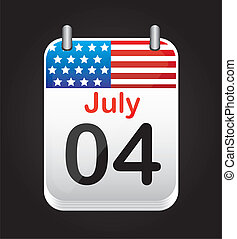 july 4 calendar with united states flag over black background. vector