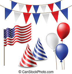 July 4 celebrating item set with flags, balloons and party hats