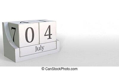 July 4 date on retro blocks calendar, 3D animation - Wooden...