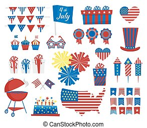 USA celebration cartoon flat national symbols set for independence day isolated on white background. July 4 icons in Independence Day of USA colors. Vector illustration