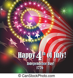Colorful holiday fireworks on the black sky background and flag