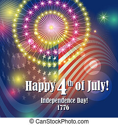 Colorful holiday fireworks on the blue sky background and flag