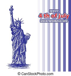 July 4 independence day statue of liberty and blue stripes. vector image