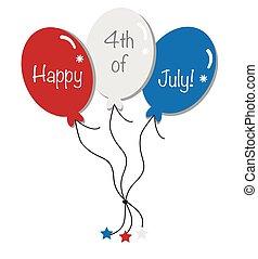 july 4, léggömb, boldog