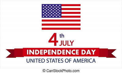 July 4 on the festive ribbon for the United States Independence Day, art video illustration.
