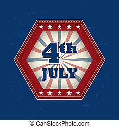 july 4, -, retro, címke