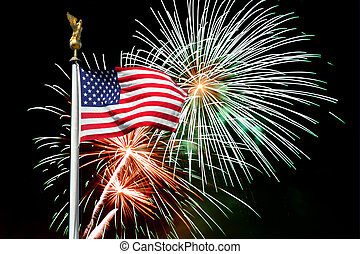 july 4 american flag and fireworks