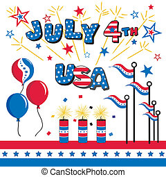 July 4 Stars and Stripes, USA, balloons, firecrackers, flags, fireworks and patriotic bunting in red, white and blue for summer picnics, parades, holidays, celebrations. EPS8 compatible.
