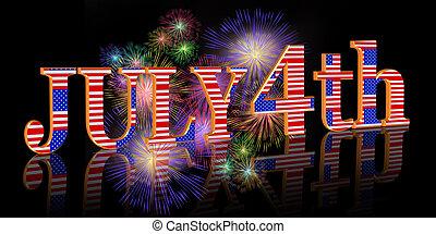 July 4Th background border - 3 Dimensional illustration...