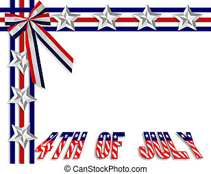 July 4Th background border - 3 Dimensional illustration of...