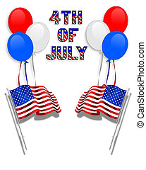 July 4Th background flags balloons
