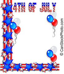 July 4th Background - Illustrated text and red white and...