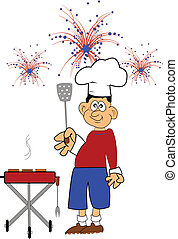chief BBQ man in backyard on July 4th grilling burgers