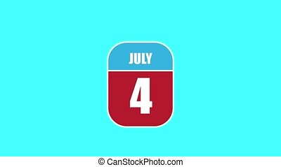 July 4th. Day 4 of month, 2D calendar animation. A calendar sheet is assembled from its component parts. summer month, day of the year concept.
