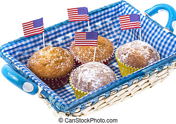 July 4th homemade cupcakes with mini-flags.