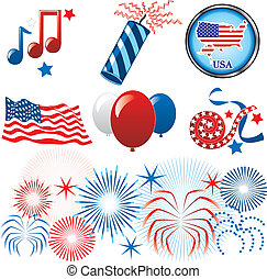 July 4th Icons - Vector Illustration for the 4th of July...