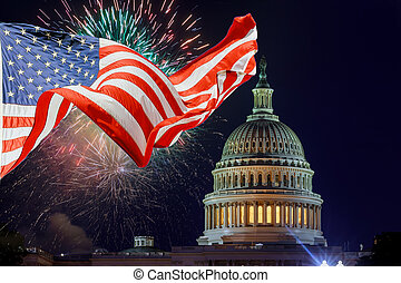 July 4th Independence day show cheerful fireworks display on the U.S. Capitol Building in Washington DC USA with American flag