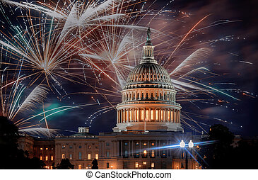 July 4th Independence day show cheerful fireworks display on the U.S. Capitol Building in Washington DC USA