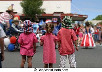 July 4th Parade - Children watching the July 4th parade in...