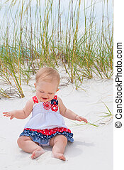 Patriotic Baby Girl at the Beach