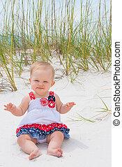 Patriotic Baby Girl at the Beach