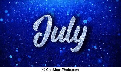 July Blue Text Wishes Particles Greetings, Invitation, ...