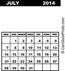 July calendar 2014 isolated