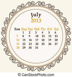 July calender 2013 stock vector