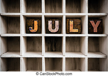 July Concept Wooden Letterpress Type in Drawer