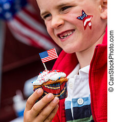 july fourth, cupcake
