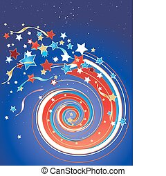 an illustration of a july fourth firework in a night sky with stars and streamers