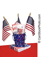 July Fourth napkins and American flags - A patriotic themed...