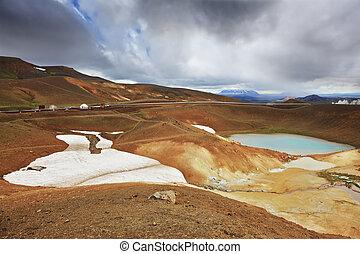 Krafla lake in the crater