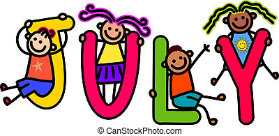 July Kids - A group of happy stick children climbing over ...