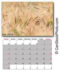 july nature calendar page layout