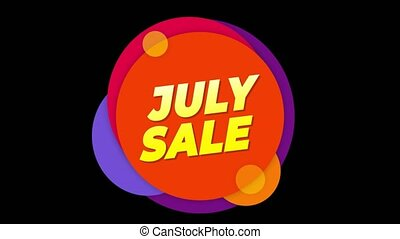 July Sale Text Sticker Colorful Sale Popup Animation. - July...