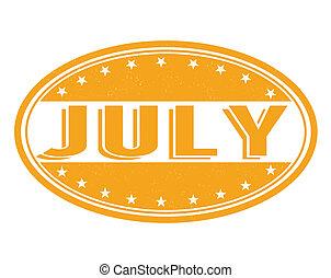 July stamp - July grunge rubber stamp on white background, ...
