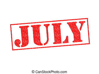 JULY Rubber Stamp over a white background.