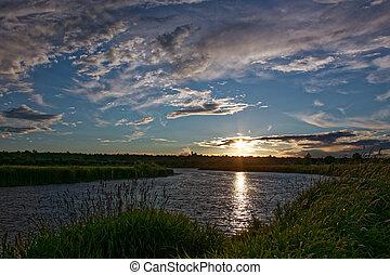 july., sur, rivière, coucher soleil