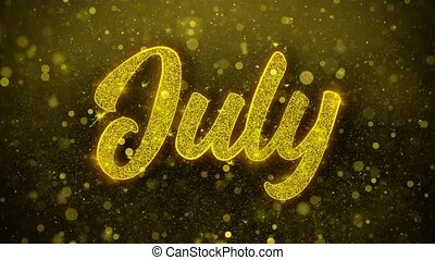 July Wishes Greetings card, Invitation, Celebration Firework...