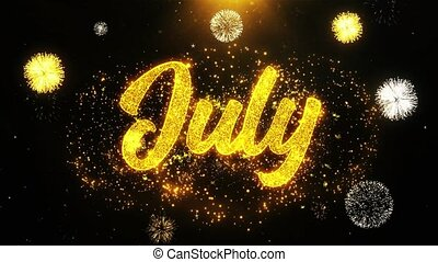 July Wishes Greetings card, Invitation, Celebration Firework Looped