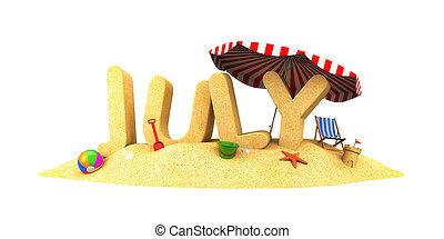 JULY - word of sand. 3d illustration