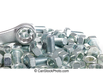 Jumbled pile of bolts and nuts